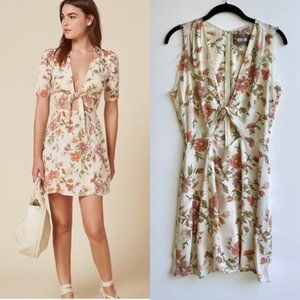 Reformation Grace Floral Raw Sleeveless Mini Dress